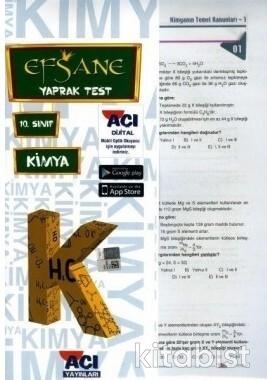 Açı Yayınları - 10.Sınıf Kimya Çek Kopar Yaprak Test