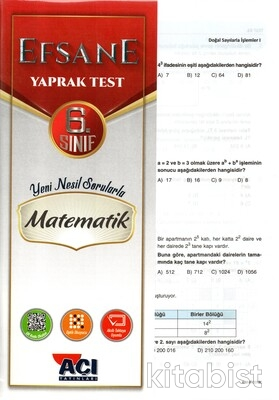 Açı Yayınları - 6.Sınıf Matematik Çek Kopar Yaprak Test
