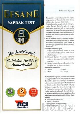 Açı Yayınları - 8.Sınıf T.C.İnkılap Tarihi ve Atatürkçülük Çek Kopar Yaprak Test