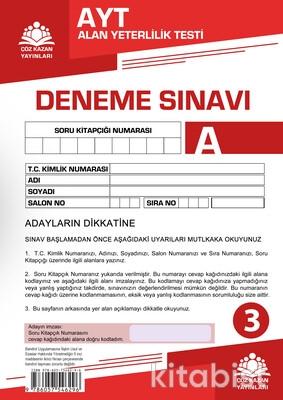 Çöz Kazan Yayınları - AYT Kurumsal Deneme Sınavı-3