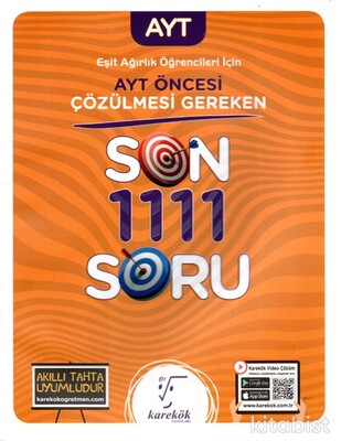 Karekök Yayınları - AYT Öncesi Çözülmesi Gereken Son 1111 Soru(Eşit Ağırlık)