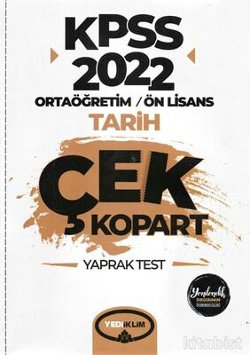 Yedi İklim Yayınları - KPSS 2022 Ortaöğretim Ön Lisans Genel Kültür Tarih Çek Kopart Yaprak Test