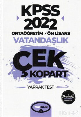 Yedi İklim Yayınları - KPSS 2022 Ortaöğretim Ön Lisans Genel Kültür Vatandaşlık Çek Kopart Yaprak Test