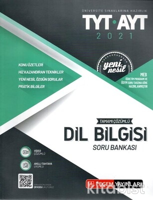 Pegem Yayınları - TYT-AYT 2021 Tamamı Çözümlü Dil Bilgisi Soru Bankası