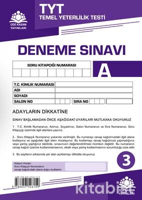 Çöz Kazan Yayınları - TYT Kurumsal Deneme Sınavı-3